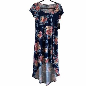 Magazine Floral High-Low Maxi Dress